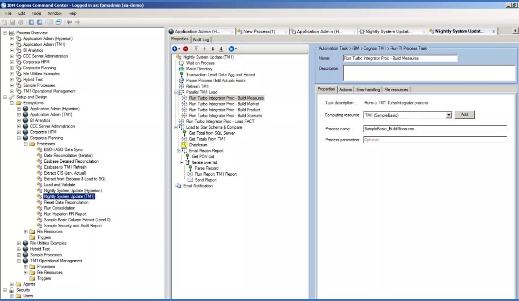 Screenshot showing the Nightly System Update tab in IBM Cognos Command Center