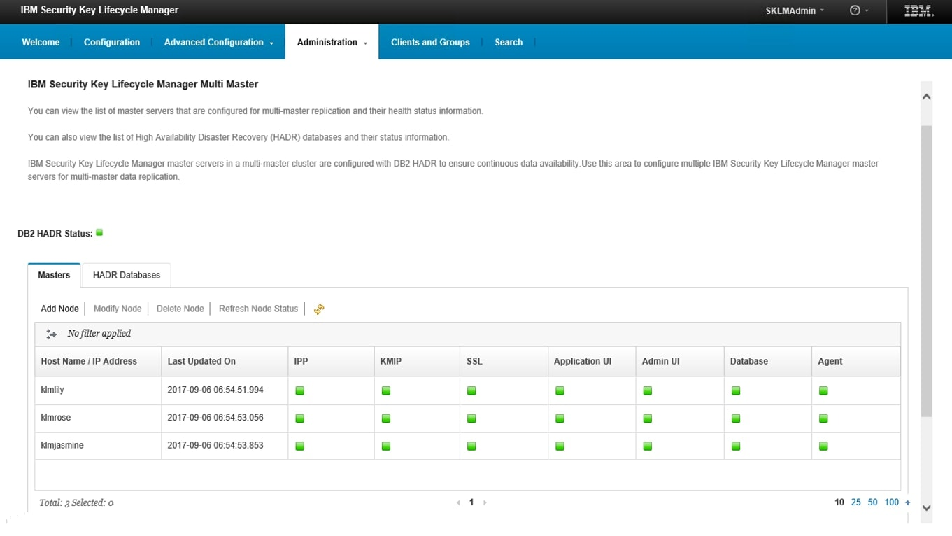 Schermata del pannello di amministrazione di IBM Security Key Lifecycle Manager