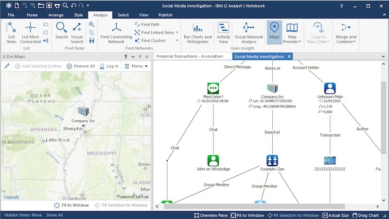Screen shot of maps and social media analysis available in IBM i2 Enterprise Insight Analysis