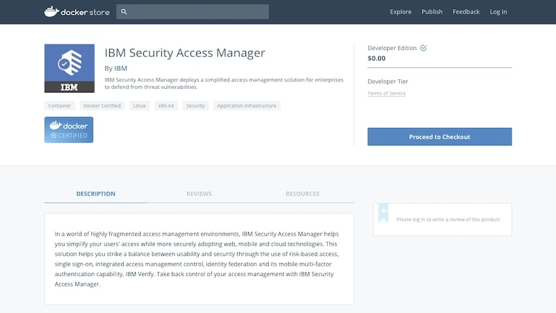 Capture d'écran de l'exécution d'IBM Security Verify Access via Docker