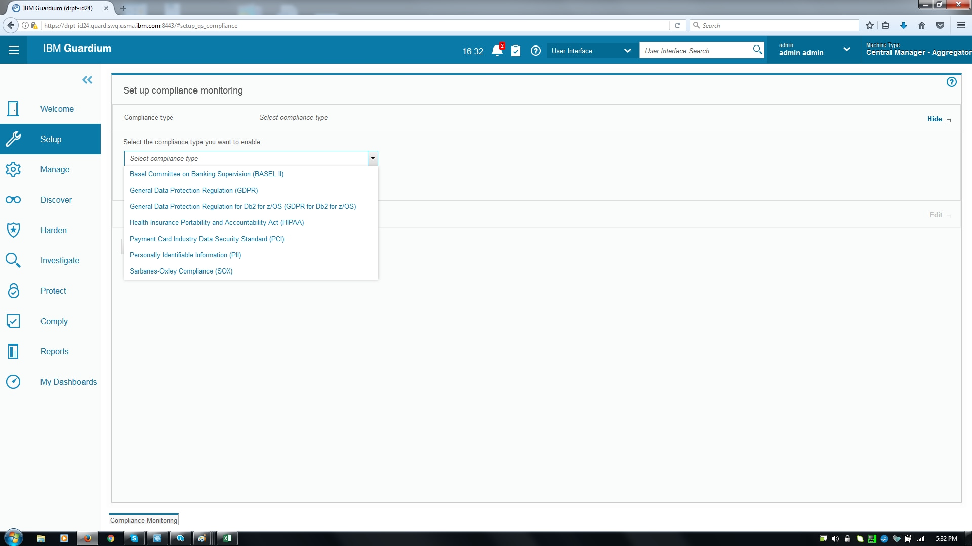 Screen shot of compliance monitoring setup