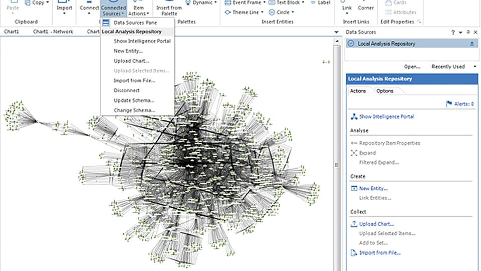 Screen shot of local analysis repository in IBM i2 Analyst's Notebook Premium
