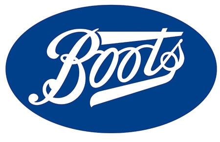 "The word ""Boots"" is written in white text within a blue oval."