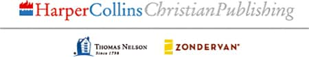 "The text ""HarperCollins Christian Publishing"" next to blue and red flames. Beneath this text is written ""Thomas Nelson, Since 1799"" beside a blue graphic of a house and ""Zondervan"" next to yellow shapes."