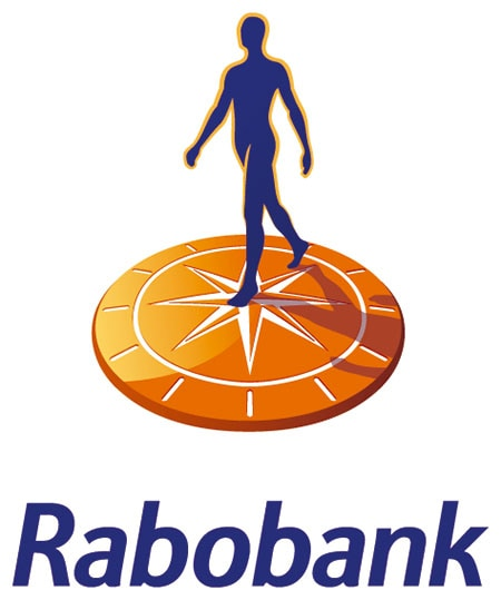 """The word """"Rabobank"""" is written beneath image of a silhouette of a person walking on an orange compass"""