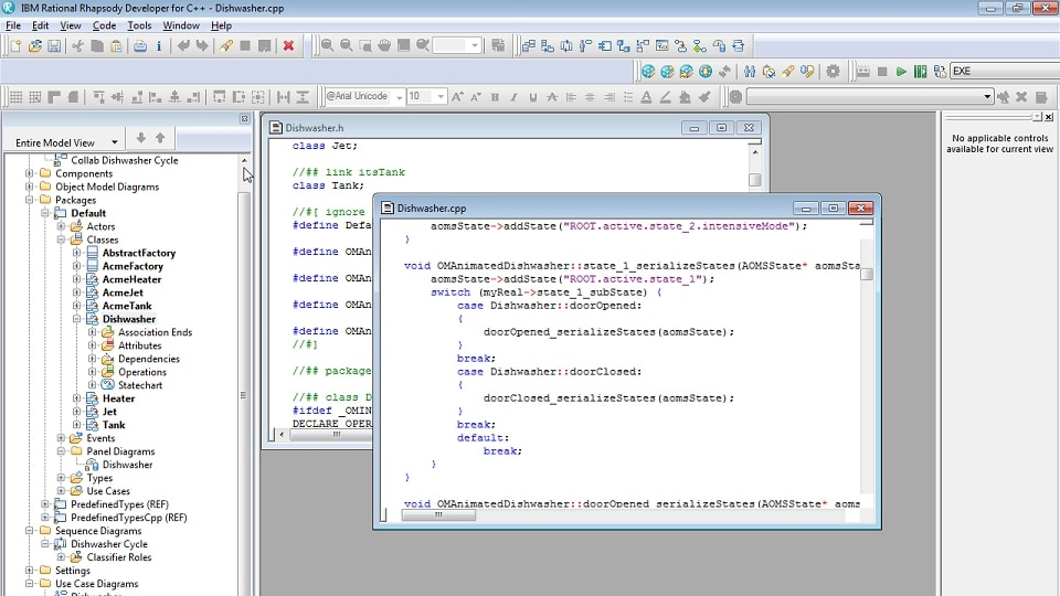 Screenshot of code generation in IBM Rational Rhapsody Developer for C++