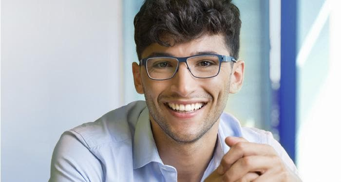 hybrid IT management lead space photo image of young man pleased with solution performance