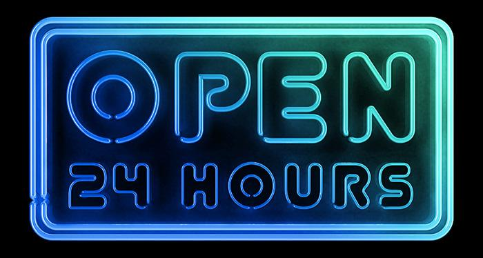 image for open 24 hours neon sign