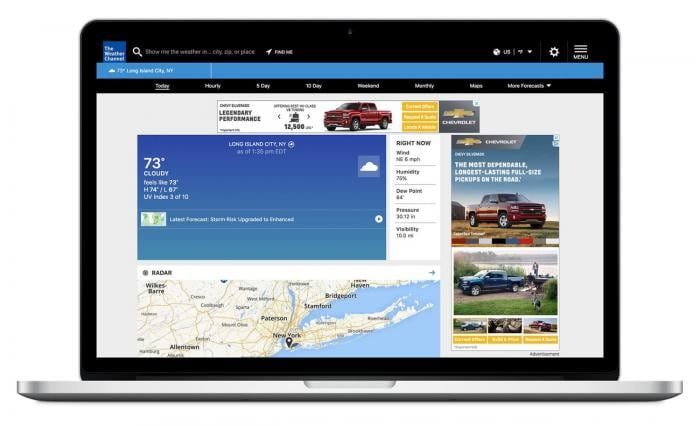 laptop with Weather Channel site on screen and ads in sidebar