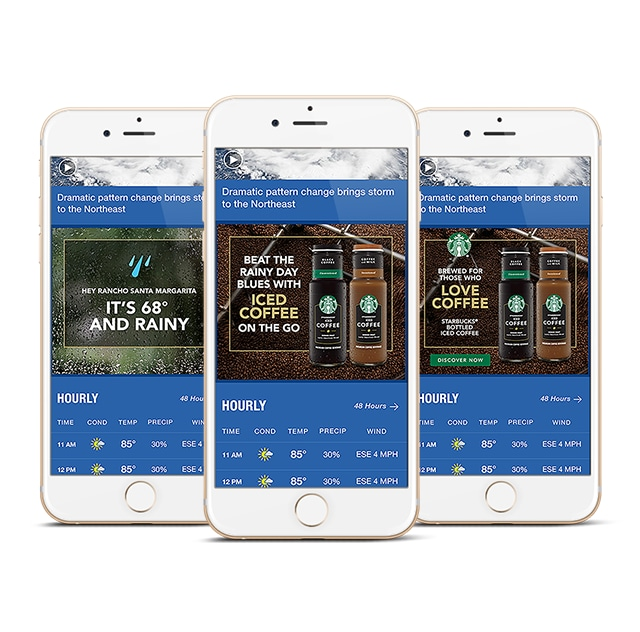 three iphones displaying weather site and ads on each screen