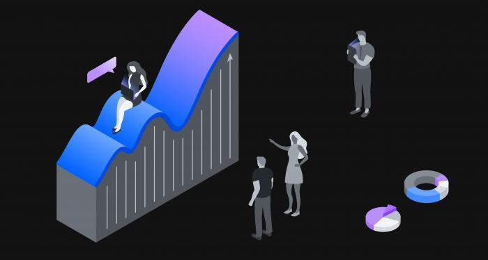 abstract 3-D graph with human figures and other shapes