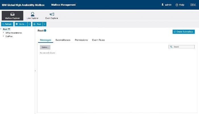 Screenshot from IBM Sterling Global Mailbox product showing the mailbox explorer