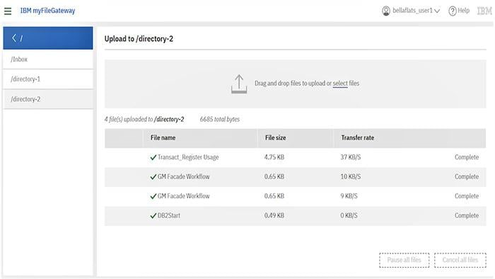 Screenshot of IBM Sterling File Gateway product dashboard