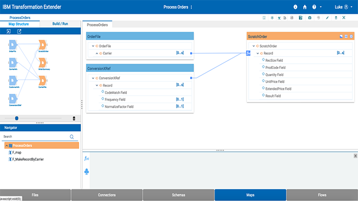 Screenshot of IBM Sterling Transformation Extender product showing process orders and map structure