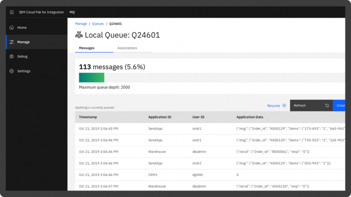 Screenshot showing a queue of messages being transmitted in IBM MQ