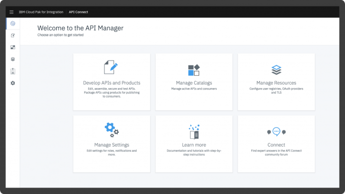 Screenshot showing the API Manager workspace in IBM API Connect