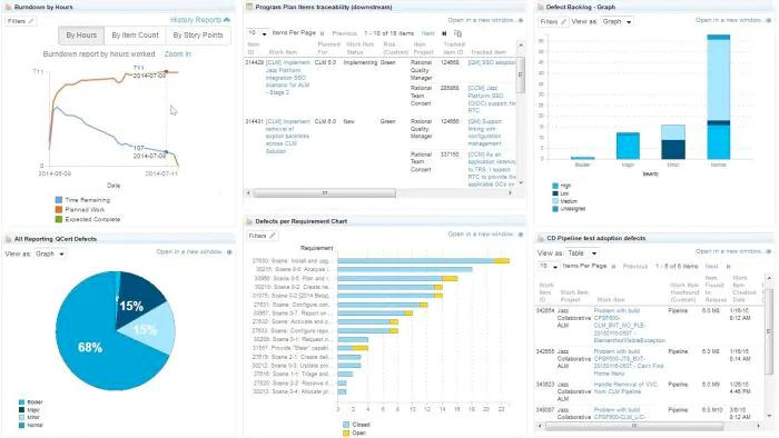 Screen of IBM Engineering Lifecycle Management Base dashboard
