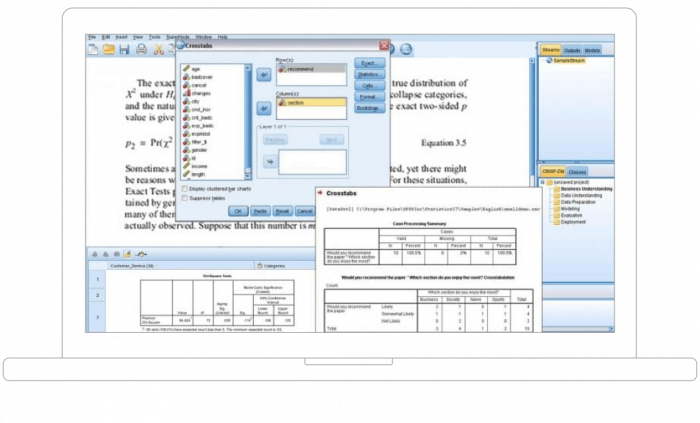 Laptop device showing IBM SPSS Exact Tests interface