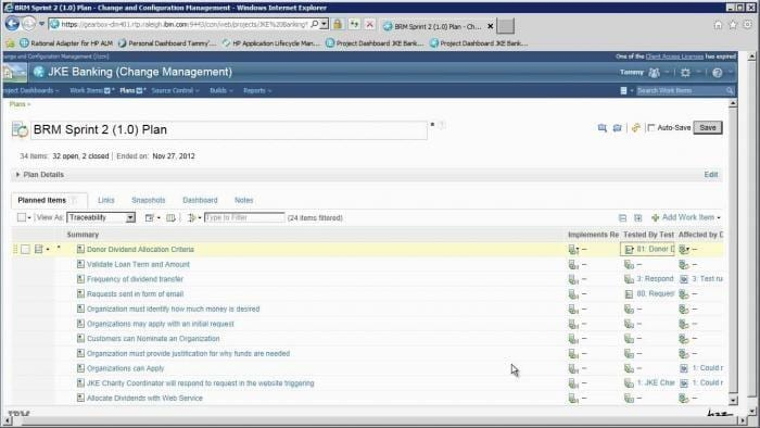 Screenshot of sprint plan in change and configuration management software