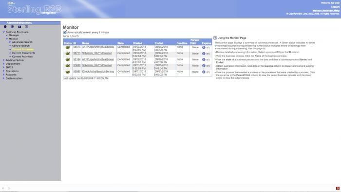 Screenshot of the IBM Sterling B2B Integrator product dashboard