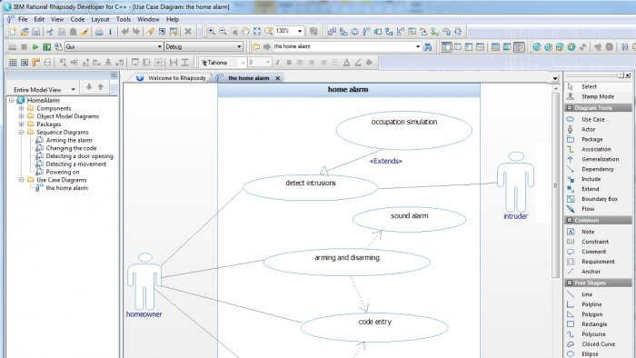 Screenshot of IBM Engineering Systems Design Rhapsody