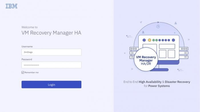 VM Recovery Manager HA panel login