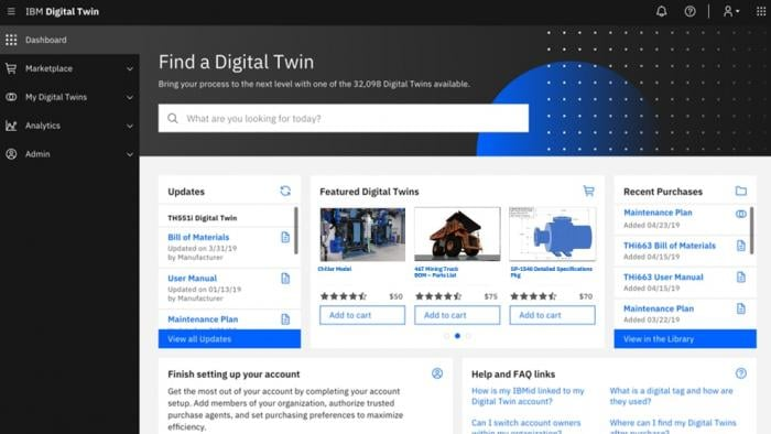 Captura de pantalla del panel de control de IBM Digital Twin Exchange