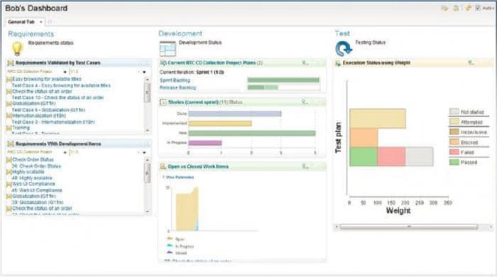 IBM Engineering Lifecycle Management platform screen