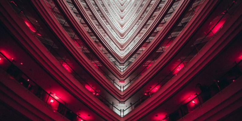 Red balconies in a building