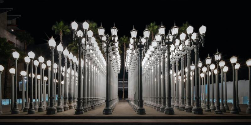 Art installation of light posts