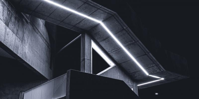Illuminated concrete staircase