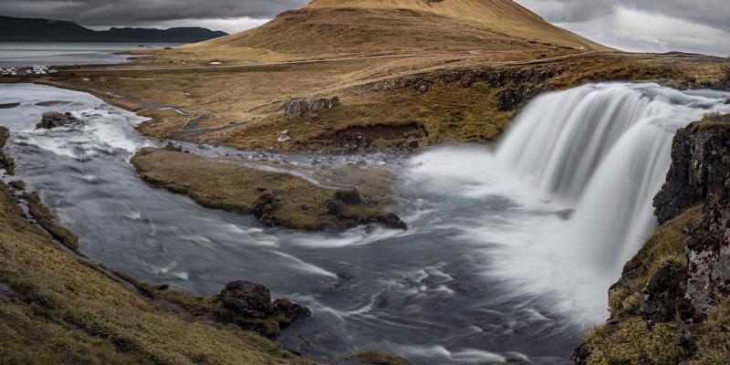 Waterfall and river in Iceland