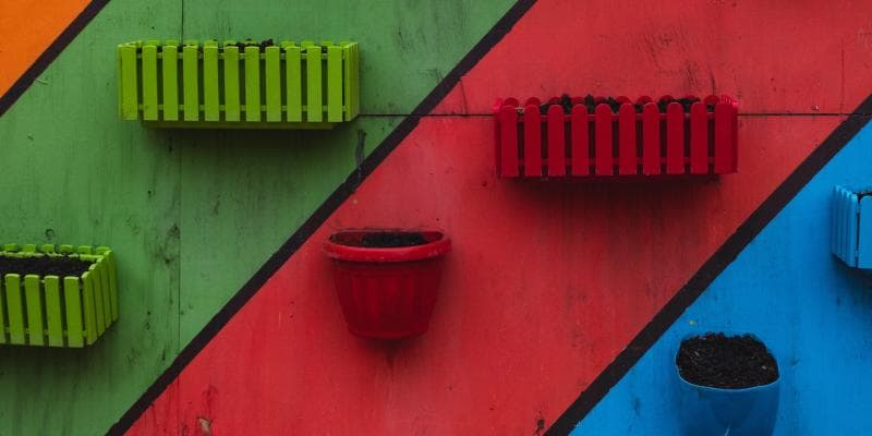Colorful wall with planters
