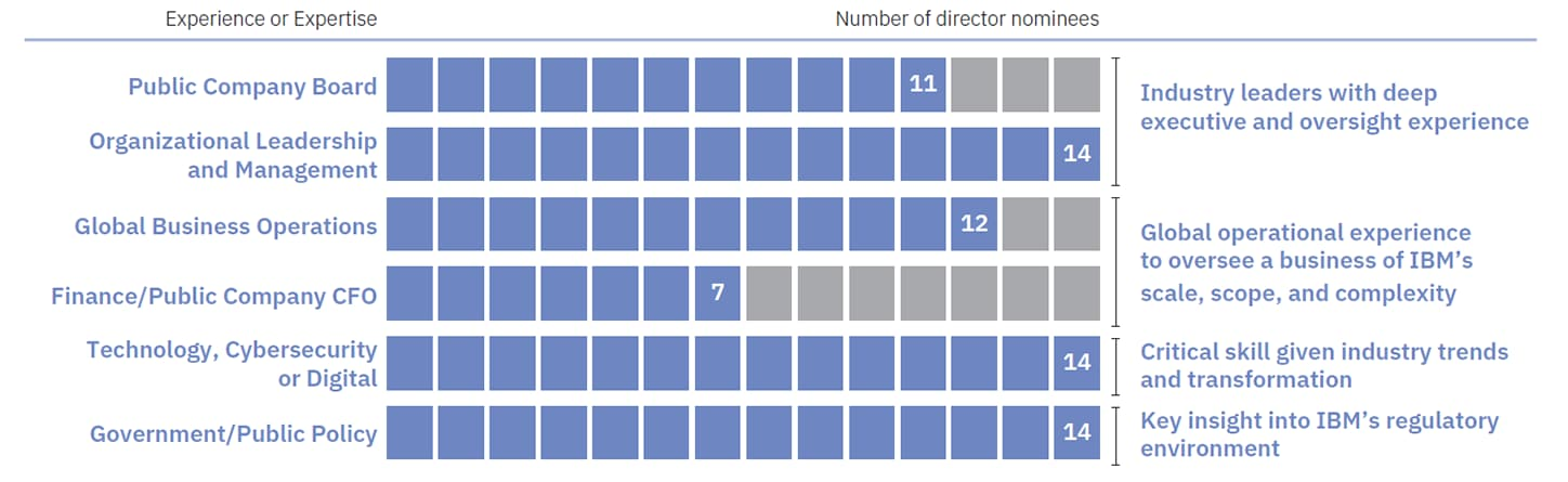 Optimal mix of skills and experience of director nominees