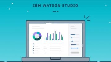 Laptop with screenshot of IBM Watson Studio Desktop