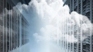 cloud in front of buildings