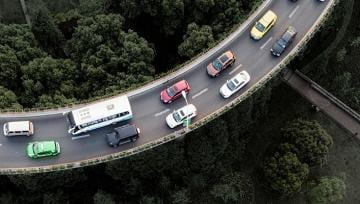 overhead view of highway ramp