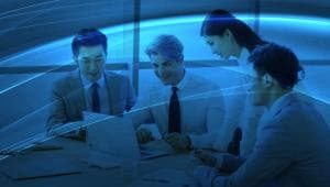 An image of people working at a table to represent a bank who uses IBM Blueworks Live.