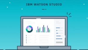 Illustration of laptop with screenshot of IBM Watson Studio Desktop