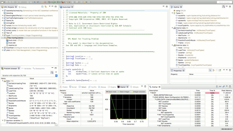 Running an OPL model in IBM ILOG CPLEX Optimization Studio
