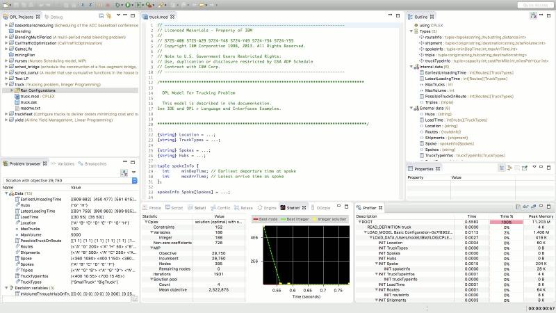 Running an OPL model in IBM ILOG CPLEX Optimization Studio