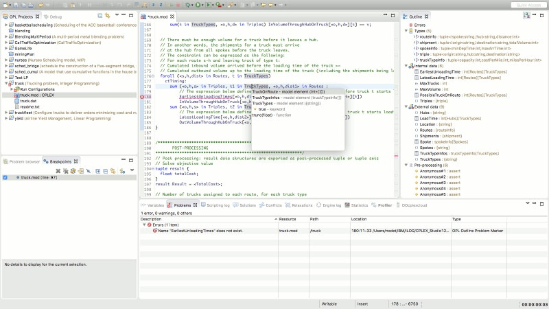Syntax checking and auto-completion in IBM ILOG CPLEX Optimization Studio