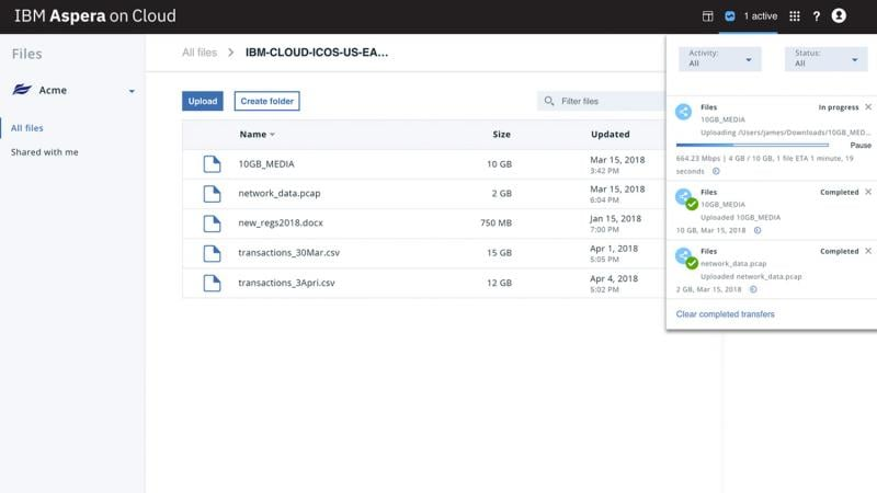 Screen capture of the capability of Aspera on Cloud to provide real-time control of your file and data-set transfers
