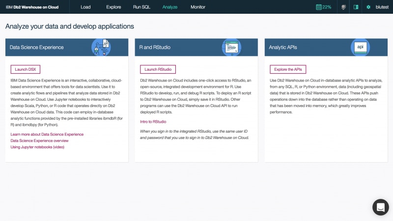 Screen capture of how to connect cloud data warehouse to other data science tools to analyze yoru data or u se in - database  analytic APIs to improve performance of data analysis