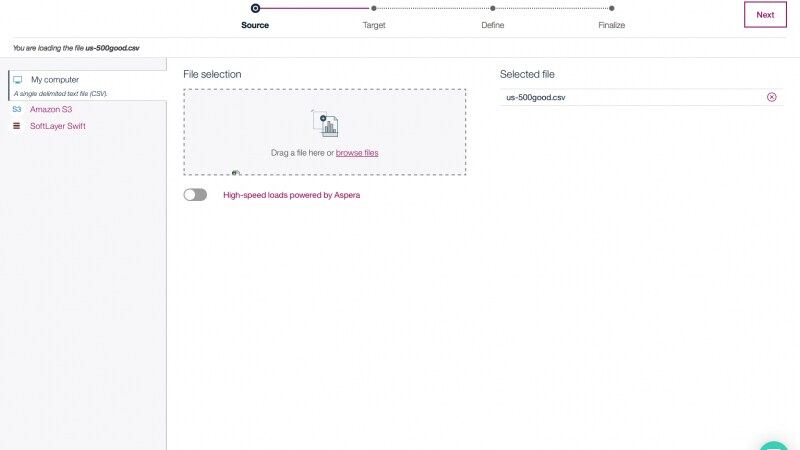Screen capture showing how to rapidly load data to your database on cloud from cloud - based storage or your desktop