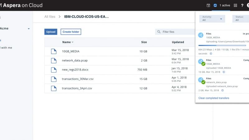 Screen capture of product UI that shows ability to provide real-time control of your transfers