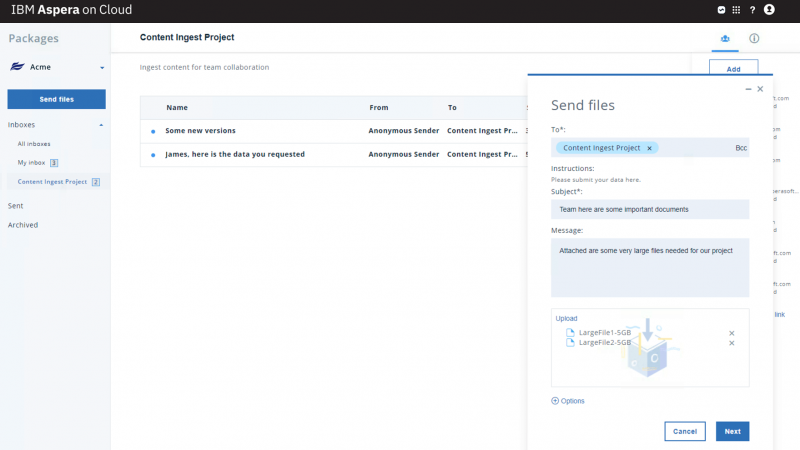 Screen capture of product UI that shows the ability to send packages of files to a shared inbox dropbox
