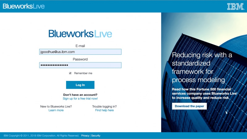 IBM Blueworks Live page, showing easy installation procedures.