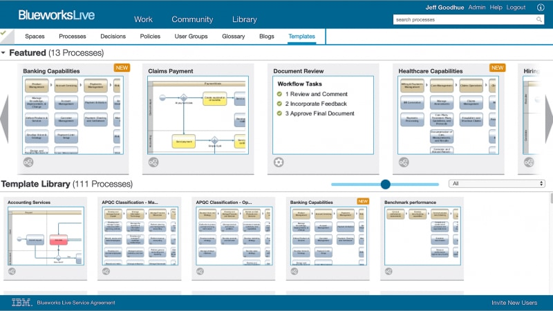 IBM Blueworks Live page, showing some of the 200 starter templates available.