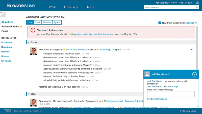 IBM Blueworks Live page, demonstrating possibilities of real-time collaboration.